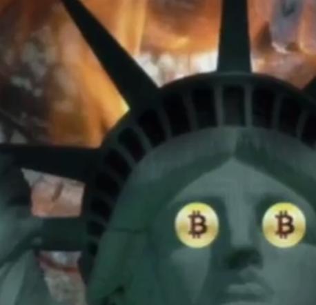 Bitcoin dans les yeux de la statut de la liberté